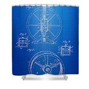Steam Engine Blueprint Shower Curtain