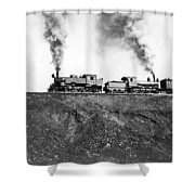 Steam Engines Pulling A Train Shower Curtain