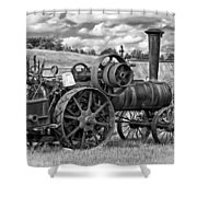 Steam Powered Tractor - Paint Bw Shower Curtain
