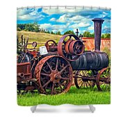 Steam Powered Tractor - Paint Shower Curtain