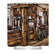 Steam Punk - The Press Shower Curtain by Mike Savad