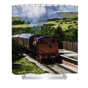Steam Train 2 Oil Painting Effect Shower Curtain