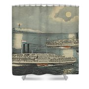 Steamboats Passing At Midnight On Long Island Sound Shower Curtain