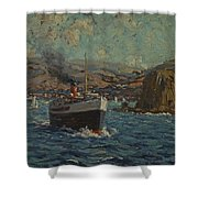 Steamer Leaving Avalon. Catalina Island Shower Curtain