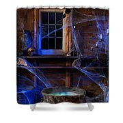 Steaming Cauldron In A Witch Cabin Shower Curtain