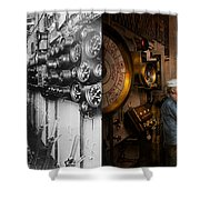 Steampunk - Controls On The Uss Washington 1920 - Side By Side Shower Curtain