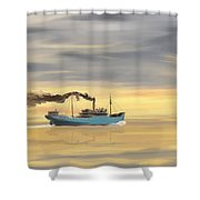 Steamship Freighter Heading Towards The Ocean Shower Curtain
