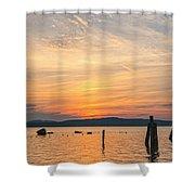 Steamy Hudson River Sunrise Shower Curtain