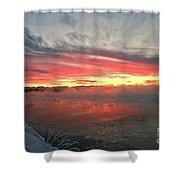 Steamy Winter Sunset Shower Curtain