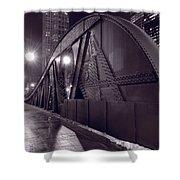 Steel Bridge Chicago Black And White Shower Curtain