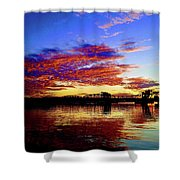 Steel Bridge Sunset Silhouette Shower Curtain