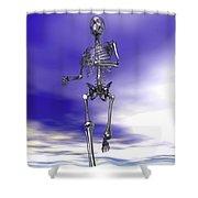Steel Running Skeleton On Wet Sand Shower Curtain