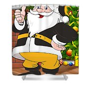 Steelers Santa Claus Shower Curtain
