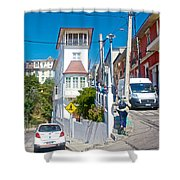Steep Streets Up The Hills In Valparaiso-chile   Shower Curtain