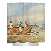 Steeplechasing Shower Curtain by Henry Thomas Alken