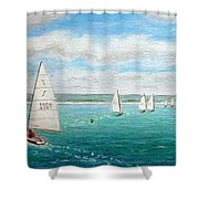 'steer The Course' - West Kirby Marine Lake, Wirral Shower Curtain
