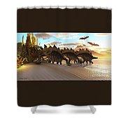 Stegosaurus Dinosaur Shower Curtain