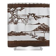Stencil With Pattern Of Seascape On White Ground Shower Curtain