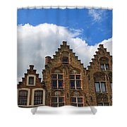 Stepped Gables Of The Brick Houses In Jan Van Eyck Square Shower Curtain