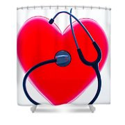 Stethoscope And Plastic Heart Shower Curtain