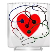 Stethoscopes And Plastic Heart Shower Curtain