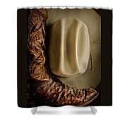 Stetson Hat And Cowboy Boot  Shower Curtain