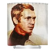 Steve Mcqueen, Vintage Hollywood Actor Shower Curtain