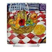 Still Life Art Fruit Basket 3 Shower Curtain
