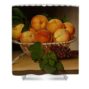 Still Life - Basket Of Peaches Shower Curtain