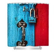 Still Life In Blue And Red Shower Curtain