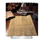 Still Life Of A Copy Of The Declaration Shower Curtain