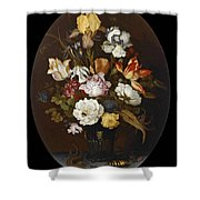 Still Life Of Flowers In A Glass Vase Shower Curtain