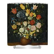 Still Life Of Flowers In A Stoneware Vase Shower Curtain
