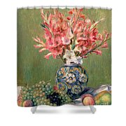 Still Life Of Fruits And Flowers Shower Curtain