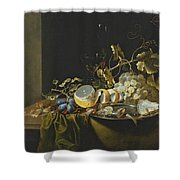 Still Life Of Hazelnuts Grapes Oysters And Other Foods On A Draped Table Shower Curtain