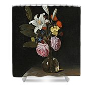 Still Life Of Roses Lilies And Other Flowers In A Glass Vase On A Marble Ledge Shower Curtain