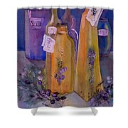 Still Life Olive Oil And Olive Twigs Shower Curtain