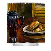 Still Life Pancakes And Coffee Painting Shower Curtain
