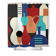 Still Life Paper Collage Of Wine Glasses Bottles And Musical Instruments Shower Curtain