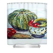 Still-life Pumpkin And Apples Shower Curtain