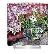 Still Life Vase And Lace Watercolor Painting Shower Curtain