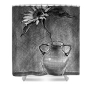Still Life - Vase With One Sunflower Shower Curtain