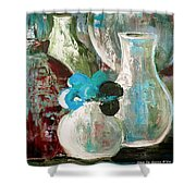 Still Life With A Blue Flower Shower Curtain