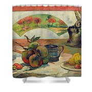 Still Life With A Fan Shower Curtain by Paul Gauguin