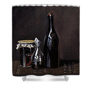 Still Life With A Jellyjar A Carafe And A Bottle Of Wine Shower Curtain