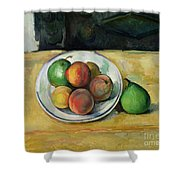 Still Life With A Peach And Two Green Pears Shower Curtain