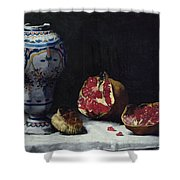 Still Life With A Pomegranate Shower Curtain by Auguste Theodule Ribot