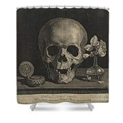 Still Life With A Skull And A Vase Of Roses Shower Curtain