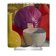 Still Life With An Onion Shower Curtain