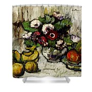 Still Life With Anemones And Fruit Shower Curtain
